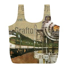 Train Vintage Tracks Travel Old Full Print Recycle Bags (l)