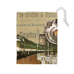 Train Vintage Tracks Travel Old Drawstring Pouches (large)