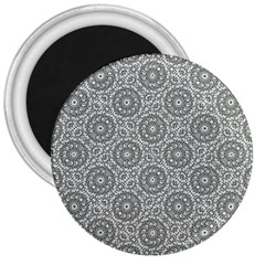 Grey Ornate Decorative Pattern 3  Magnets by dflcprints