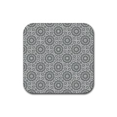 Grey Ornate Decorative Pattern Rubber Square Coaster (4 Pack)  by dflcprints