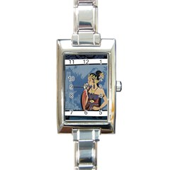 Java Indonesia Girl Headpiece Rectangle Italian Charm Watch