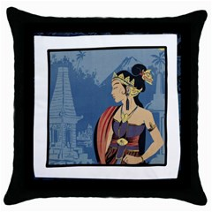 Java Indonesia Girl Headpiece Throw Pillow Case (black)