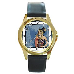 Java Indonesia Girl Headpiece Round Gold Metal Watch