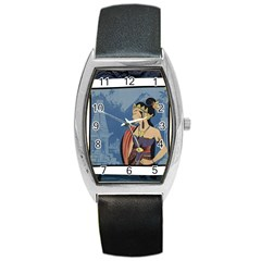Java Indonesia Girl Headpiece Barrel Style Metal Watch