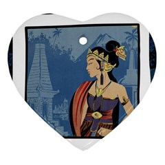 Java Indonesia Girl Headpiece Heart Ornament (two Sides)