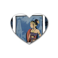 Java Indonesia Girl Headpiece Rubber Coaster (heart)