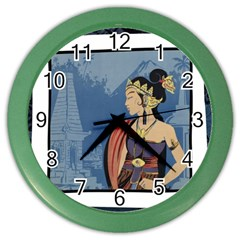 Java Indonesia Girl Headpiece Color Wall Clocks