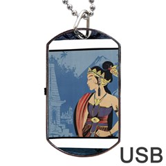 Java Indonesia Girl Headpiece Dog Tag Usb Flash (two Sides) by Nexatart