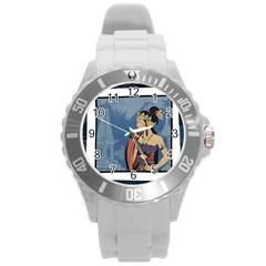 Java Indonesia Girl Headpiece Round Plastic Sport Watch (l)
