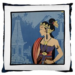 Java Indonesia Girl Headpiece Large Cushion Case (two Sides)