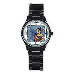 Java Indonesia Girl Headpiece Stainless Steel Round Watch