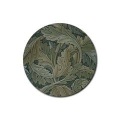 Vintage Background Green Leaves Rubber Round Coaster (4 Pack)