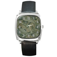 Vintage Background Green Leaves Square Metal Watch