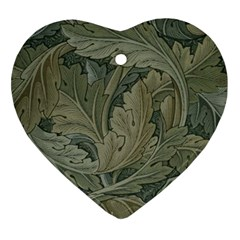 Vintage Background Green Leaves Heart Ornament (two Sides)