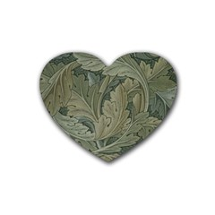 Vintage Background Green Leaves Rubber Coaster (heart)