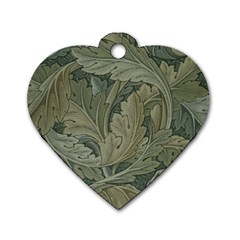 Vintage Background Green Leaves Dog Tag Heart (two Sides)