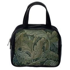 Vintage Background Green Leaves Classic Handbags (one Side)