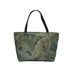 Vintage Background Green Leaves Shoulder Handbags