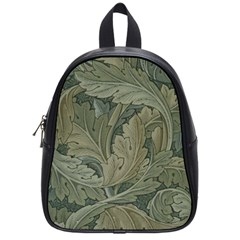 Vintage Background Green Leaves School Bag (small)