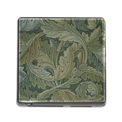 Vintage Background Green Leaves Memory Card Reader (square)