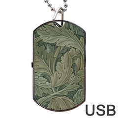 Vintage Background Green Leaves Dog Tag Usb Flash (two Sides)