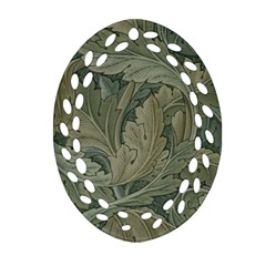 Vintage Background Green Leaves Ornament (oval Filigree)