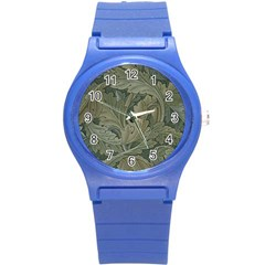 Vintage Background Green Leaves Round Plastic Sport Watch (s)