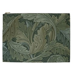 Vintage Background Green Leaves Cosmetic Bag (xxl)