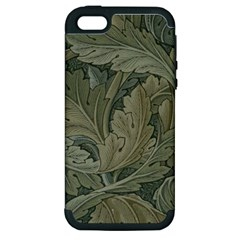 Vintage Background Green Leaves Apple Iphone 5 Hardshell Case (pc+silicone)