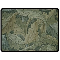Vintage Background Green Leaves Double Sided Fleece Blanket (large)