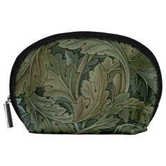 Vintage Background Green Leaves Accessory Pouches (large)