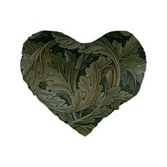 Vintage Background Green Leaves Standard 16  Premium Flano Heart Shape Cushions