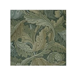 Vintage Background Green Leaves Small Satin Scarf (square)