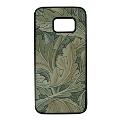 Vintage Background Green Leaves Samsung Galaxy S7 Black Seamless Case