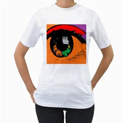 Eyes Makeup Human Drawing Color Women s T Shirt (white) (two Sided)