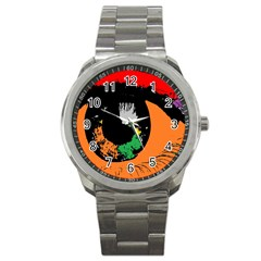Eyes Makeup Human Drawing Color Sport Metal Watch