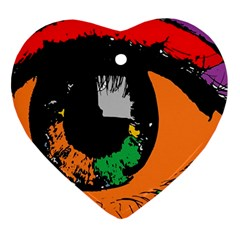 Eyes Makeup Human Drawing Color Heart Ornament (two Sides)