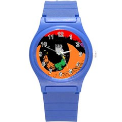 Eyes Makeup Human Drawing Color Round Plastic Sport Watch (s)