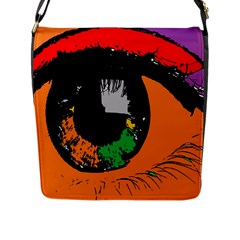 Eyes Makeup Human Drawing Color Flap Messenger Bag (l)