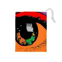 Eyes Makeup Human Drawing Color Drawstring Pouches (medium)