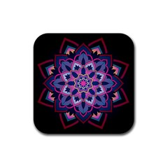 Mandala Circular Pattern Rubber Square Coaster (4 Pack)