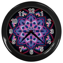Mandala Circular Pattern Wall Clocks (black) by Nexatart