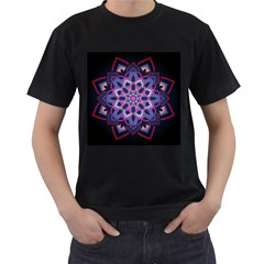 Mandala Circular Pattern Men s T Shirt (black) (two Sided)