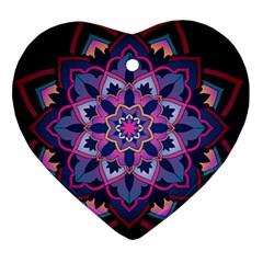 Mandala Circular Pattern Heart Ornament (two Sides)