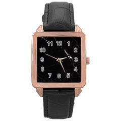 Black Marble Tiles Rock Stone Statues Rose Gold Leather Watch