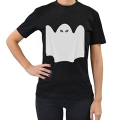 Ghost Halloween Spooky Horror Fear Women s T Shirt (black) (two Sided)