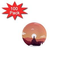 Design Art Hill Hut Landscape 1  Mini Magnets (100 Pack)