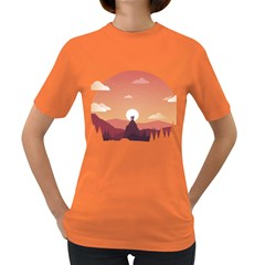 Design Art Hill Hut Landscape Women s Dark T Shirt