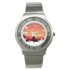 Design Art Hill Hut Landscape Stainless Steel Watch