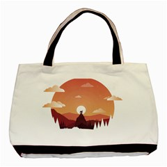 Design Art Hill Hut Landscape Basic Tote Bag (two Sides)
